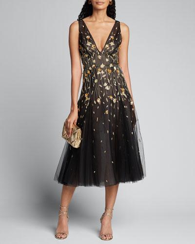 Golden Flower Embroidered Tulle Dress