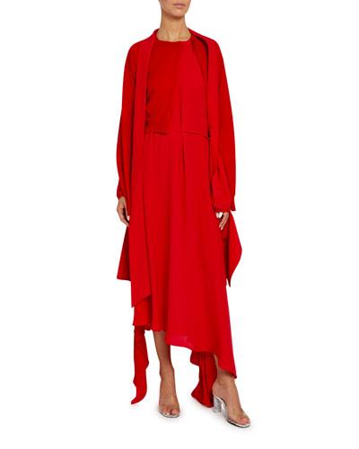 Knit Layered Long-Sleeve Dress