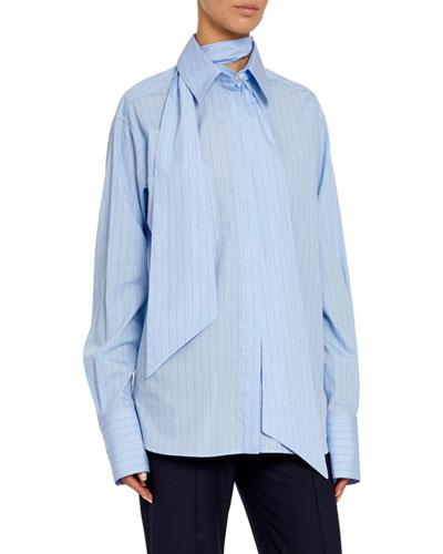 Oversized Striped Poplin Tie-Neck Shirt