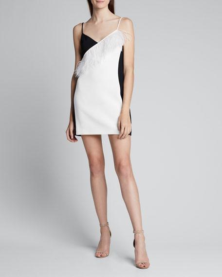 Feather-Trim Sleeveless Mini Dress