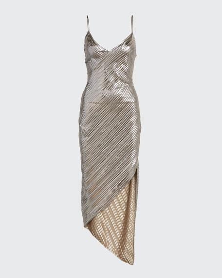 Lame Spaghetti-Strap Asymmetric Dress