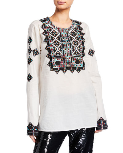 Iris Geometric-Embroidered Tunic