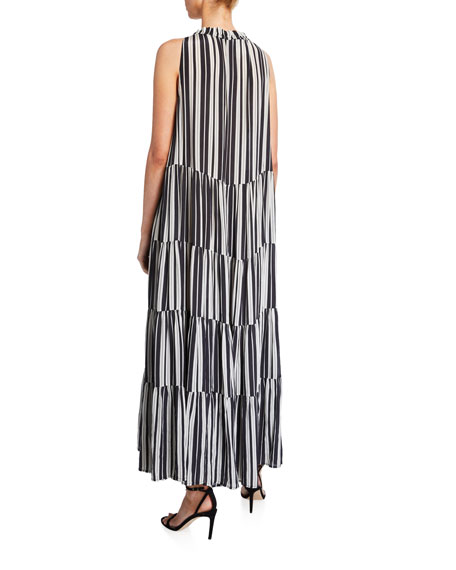 Betty Puka Shell-Trim Striped Tunic Dress