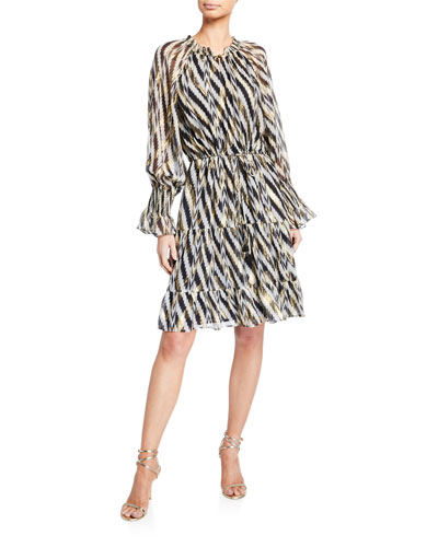 Kala Geometric-Striped Knee-Length Dress