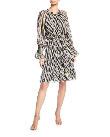 Kala Geometric-Striped Knee-Length Dress