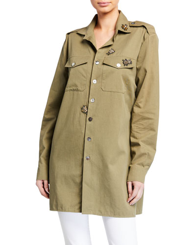 Bug-Embellished Military Shirt