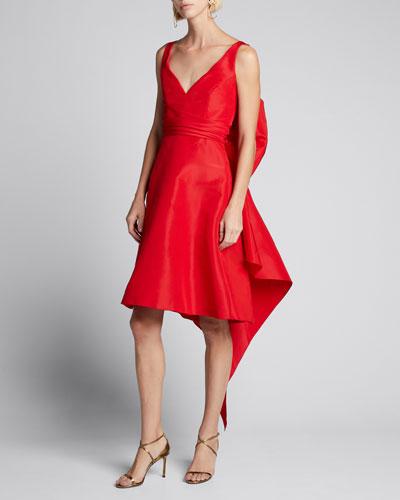 Taffeta Bow-Back Sleeveless Dress