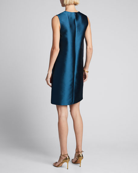 Silk Taffeta Sleeveless Shift Dress
