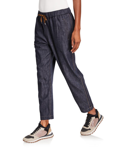 Monili Tuxedo-Striped Chambray Pants