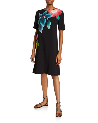 Japanese Floral-Print Short-Sleeve Dress