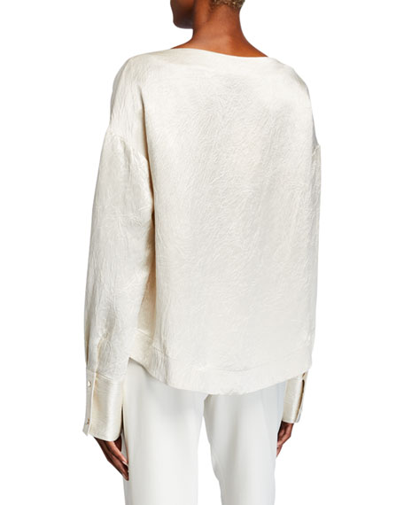 Hammered-Satin Long-Sleeve Blouse