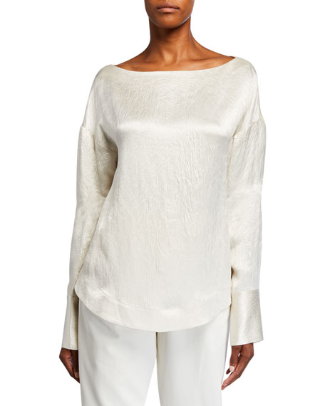 Image 1 of 1: Hammered-Satin Long-Sleeve Blouse