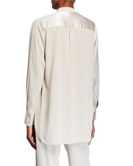 Satin & Georgette Banded Neck Shirt