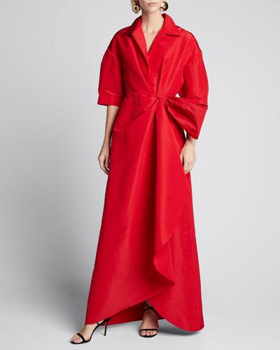 Collared 1/2-Sleeve Gown w/ Fan Detail