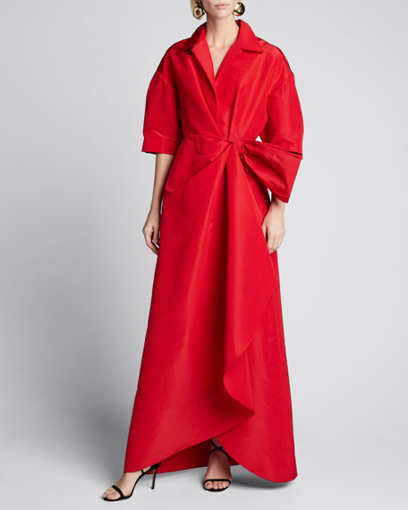 Collared 1/2-Sleeve Gown w/ Fan Detail