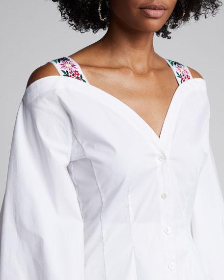 Cold-Shoulder Full-Sleeve Poplin Blouse