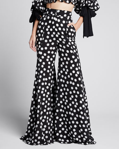 Polka-Dot Print Extra Wide-Leg Pants