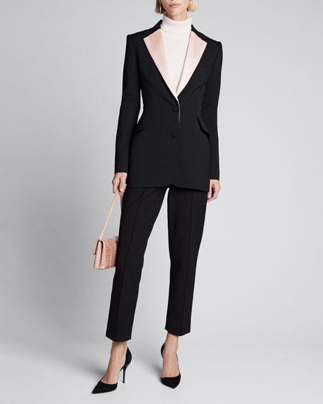 Contrast-Lapel Wool Blazer Jacket