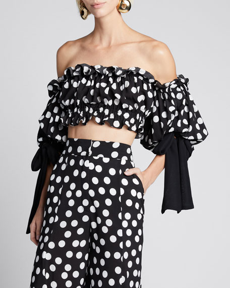 Off-the-Shoulder Bow-Sleeve Polka Dot Print Blouse