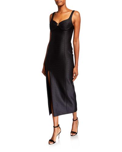 Sweetheart-Neck Tea-Length Dress