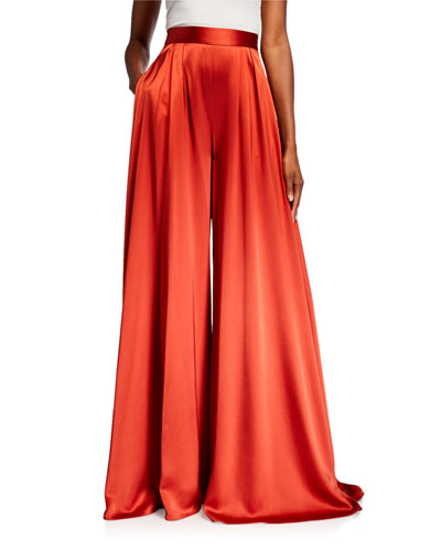 Pleated Satin Wide-Leg Pants