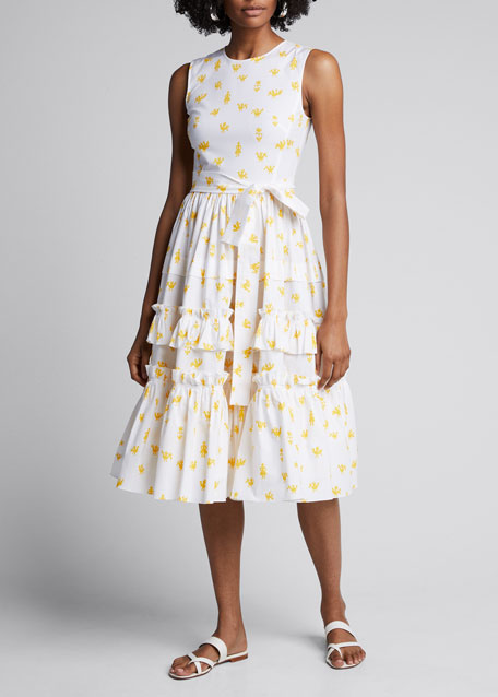 Printed Poplin Ruffle Tiered Dress