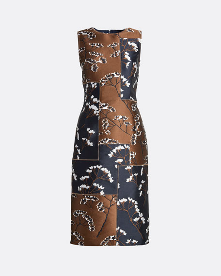 Floral Patchwork Sleeveless Sheath Dress