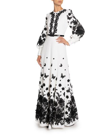 Floral Applique Zip-Neck Gown