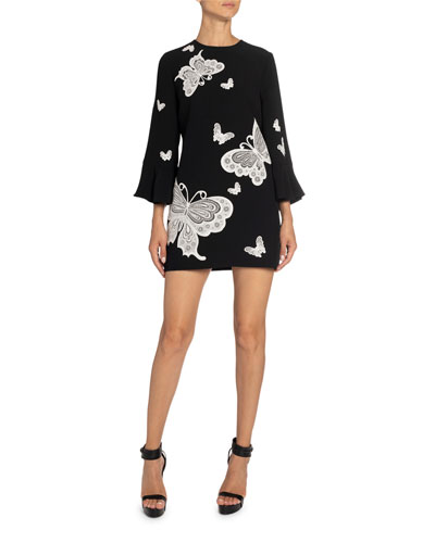 Butterfly-Embroidered Bell-Sleeve Mini Dress