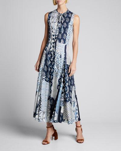 Sleeveless Patchwork Silk Day Dress w/ Back Cutout
