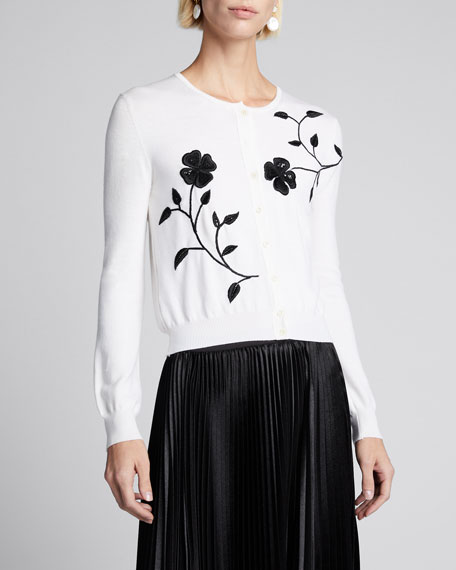 Flower Embroidered Button-Front Wool Cardigan