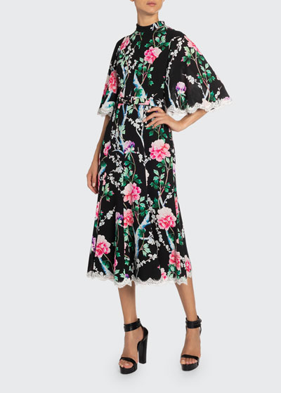 Lace-Trim Floral Midi Dress