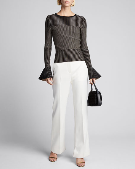 Shimmer-Striped Bell-Sleeve Sweater