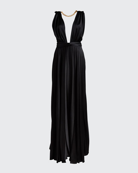 Chain-Neck Pleated Gown