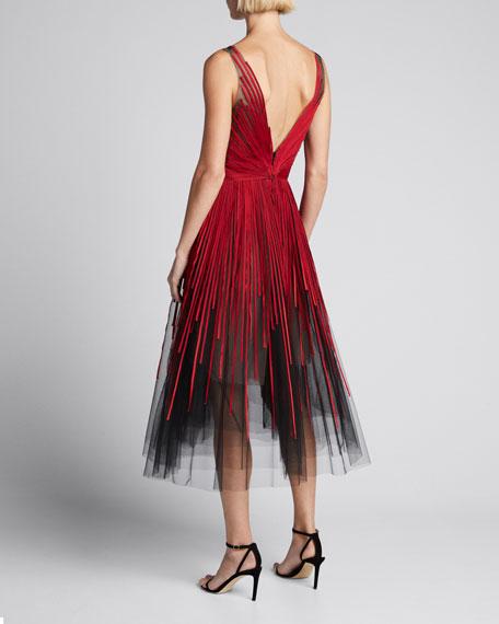 Deep V Neck Sleeveless Striped Tulle Cocktail Dress