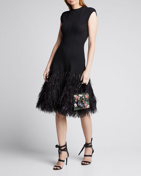 Image 1 of 1: Cap-Sleeve Knit Feathered-Skirt Cocktail Dress