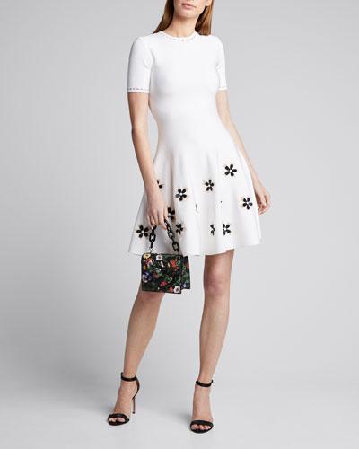 Short-Sleeve Flower Applique Knit Dress