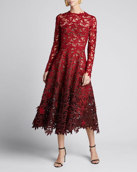 Image 1 of 1: Maple Leaf Embroidered Long Sleeve Midi Dress