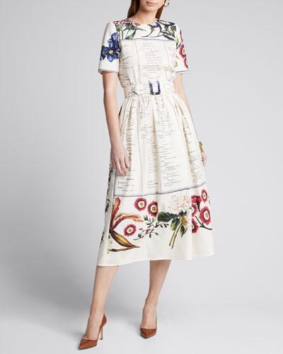 Floral Script Short-Sleeve Belted Cotton Poplin Dress