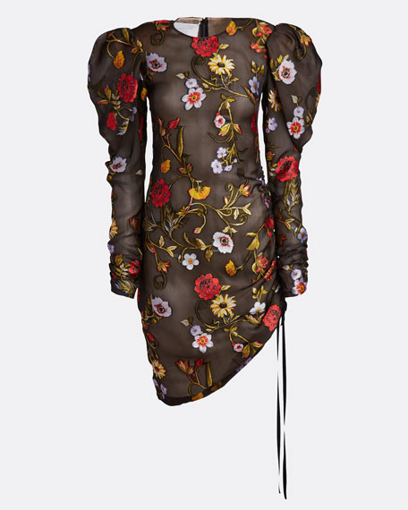 Floral-Embroidered Puff-Sleeve Cinched Cocktail Dress