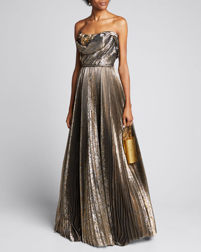 Strapless Lame Pleated A-Line Gown