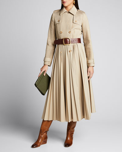 Stein Pleated Trench Coat