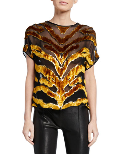 Tiger-Striped Burnout Velvet Dolman-Sleeve Top