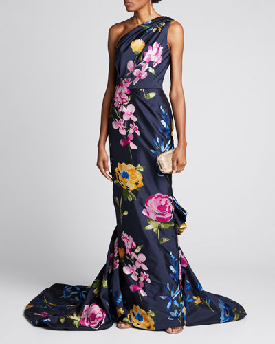 One-Shoulder Floral-Embroidered Draped Gown
