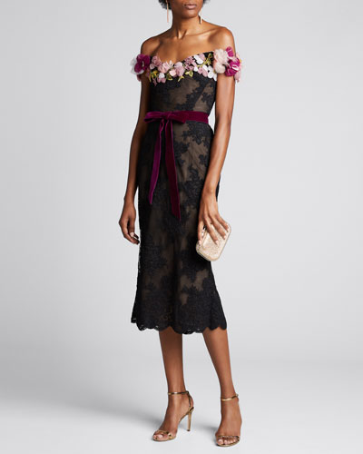 Lace Off-the-Shoulder Cocktail Dress w/ 3D Flowers
