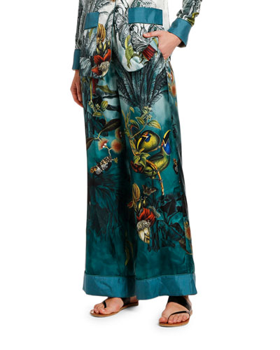 Paradise Wide-Leg Silk Pants