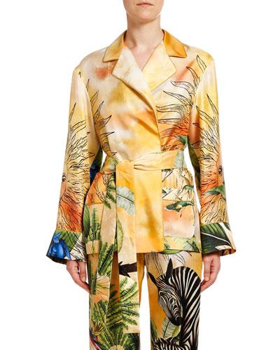 Jungle Zebra Long-Sleeve Silk Robe Top
