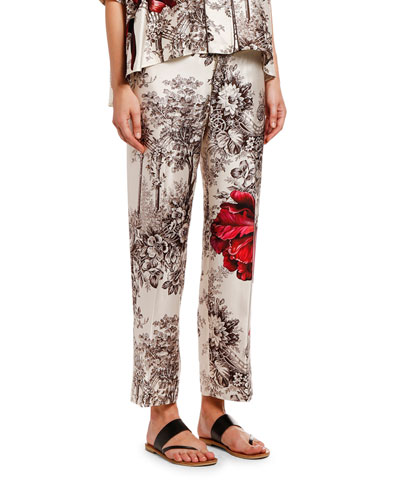 Tree Print Silk Trousers w/ Flower & Brown Piping