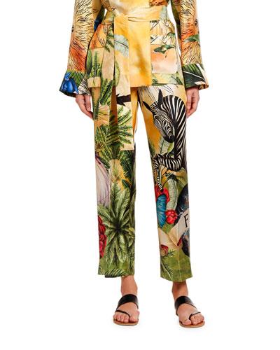 Jungle Zebra Silk Trousers