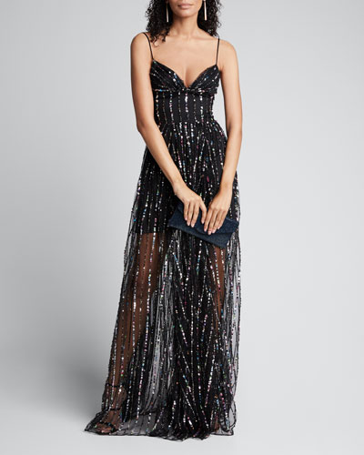 Multi-Sequined Chiffon Strapless Corset Gown